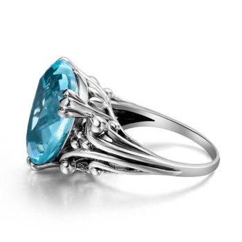 Blue Heart Topaz Sterling Silver fashion Ring  3