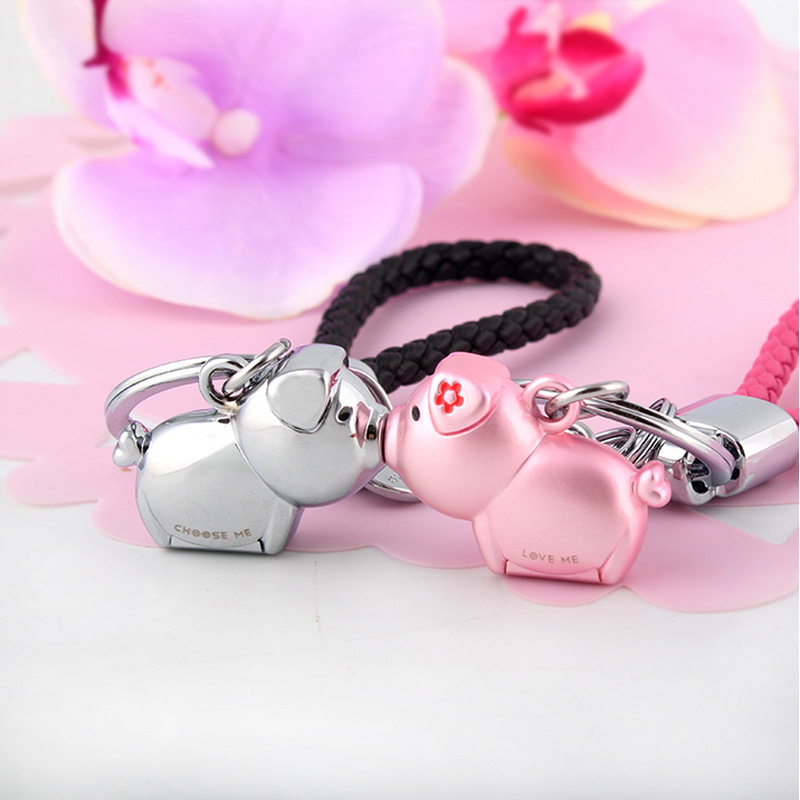 Milesi - New 2017 Brand 3D Kiss Pig Key chain Keychain Key Ring for Women Novelty souvenir pendant Couple Lovers Trinket Love Me milesi lovers keychain pairs of kiss pig key holder fashion keyring trinket car keys pendant cute present for couple k0238