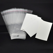 Lovely Jewelry! 100 Sets Ear Hooks Earring Display Cards 9cmx5cm W/ Self Adhesive Bags 15cmx6cm  (B18687)