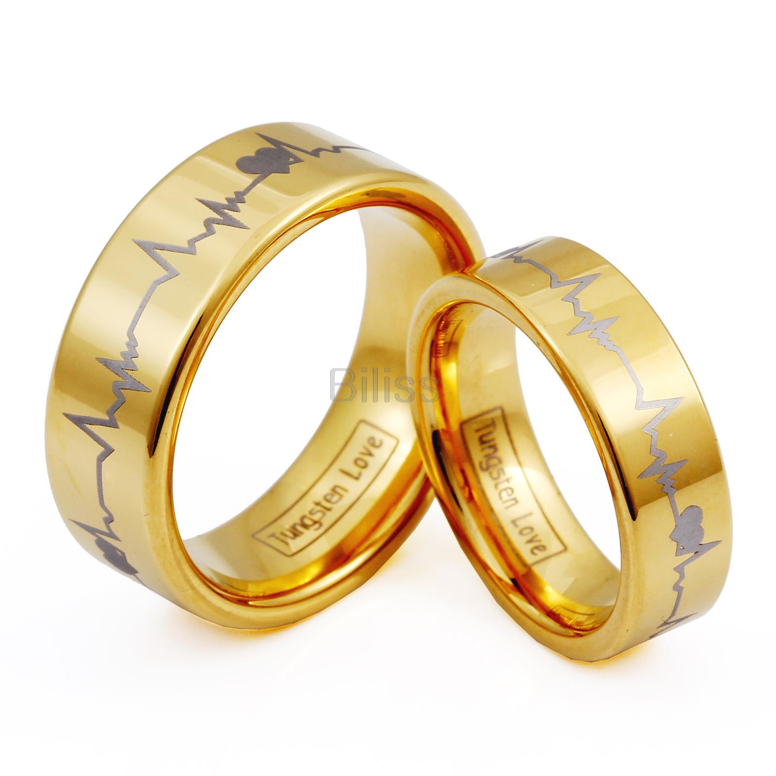 1 piece 6mm 8mm gold plated tungsten ring with laser forever love