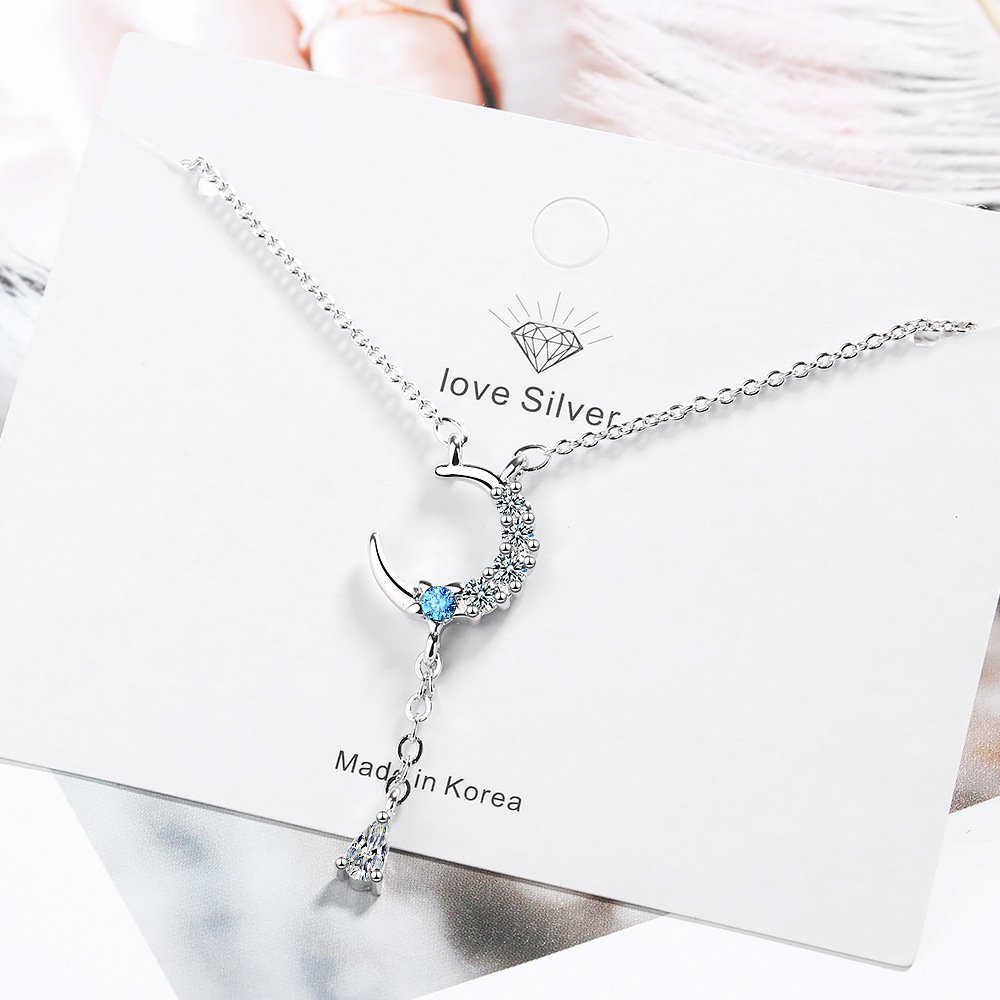 Star Moon Necklace Tassel Water Drop Short Clavicle Chain Simple Design Feel Narrow Cold Pendant in Pendant Necklaces from Jewelry Accessories