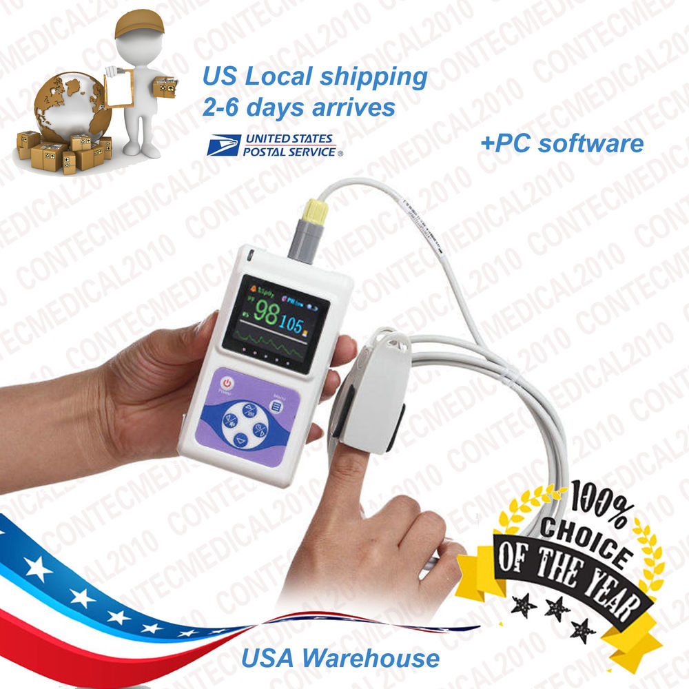 US shipping FDA HANDHELD Pulse Oximeter SPO2 USB Software OLED Display CMS60D