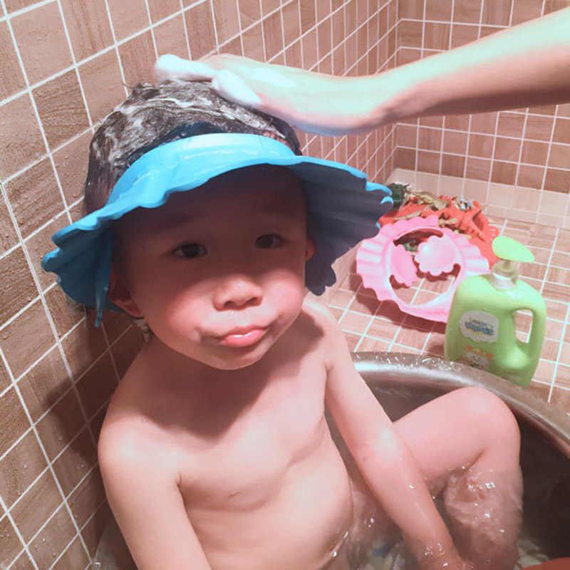 Nuevo champú ajustable para bebés y niños, gorro de baño, gorro de baño, protector para el cabello con orejeras