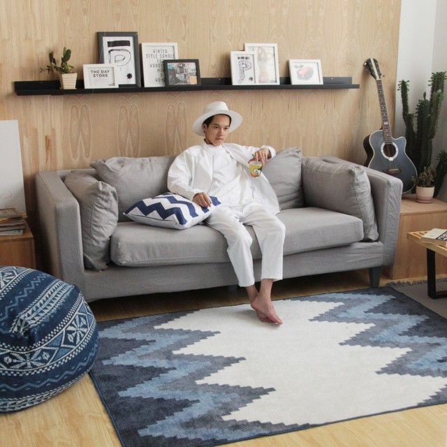 Estilo n rdico pasillo sal n alfombra geom trica indio - Alfombra salon moderno ...