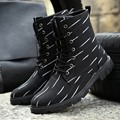 Botas acolchadas hombres botines impermeables zapatos de moda hombre 2017 Otoño zapatos martin botas botas botines de cuña de goma cordones