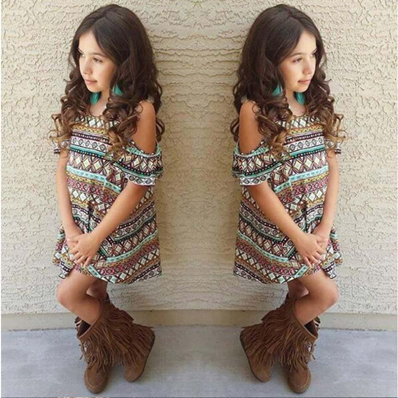 2017 New Fashion Off-the-shoulder Girls Dress Summer Printing Children Clothing Kids Dress for Girls Clothes Vestido Meninas 2017 new fashion kids clothes off shoulder camo crop tops hole jean denim pant 2pcs outfit summer suit children clothing set