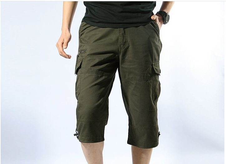2017 Summer Men Baggy Multi Pocket Shorts Male Long Army Green Tactical Short Plus Size Military Zipper Cargo Shorts 053001