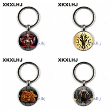 XKXLHJ God of wars 4 Kratos figure keychain glass round pendant keyring Game women men key chain Dorpshipping fashion jewelry game god of war keychain olympus kratos metal key rings blades of chaos kids gift chaveiro key chain jewelry ys10927