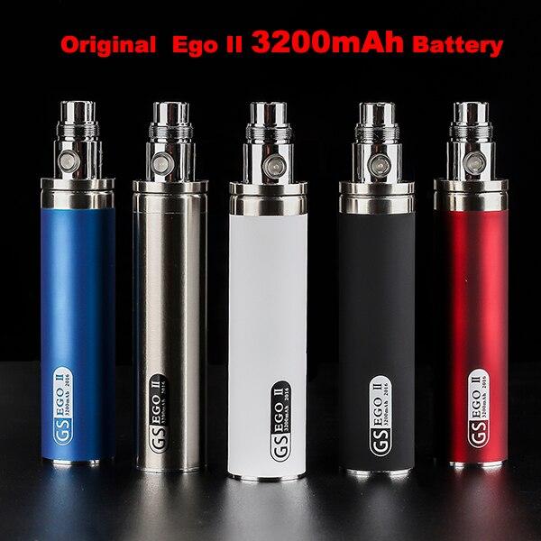 Новейшая Электронная сигарета Оригинал GS 3200 мАч ЭГО 2 Батареи Для эго II эго-II электронная сигарета 510 нить Батареи Нескольких Цветов