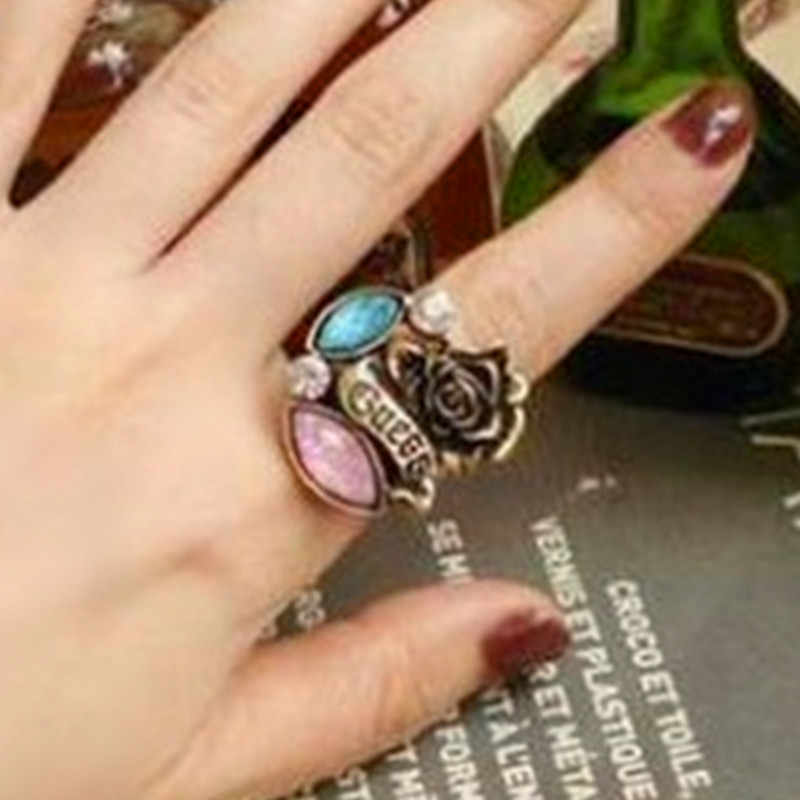 R200 Fashion New Arrival Hot Sale Simulated Pearl Rose Crystal Flower Ring  jewelry wholesale for women,