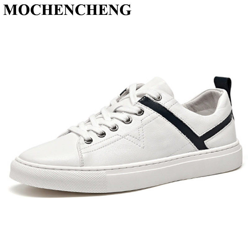Genuine Leather White Shoes for Men Summer Breathable Lace-up Flat Casual Shoes Waterproof Fashion Soft Wear-resistant Sneakers диктофон sony icd px470