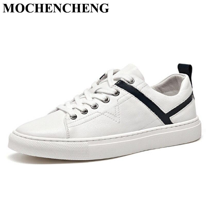 Véritable Cuir Blanc Chaussures pour Hommes D'été Respirant Dentelle-up Plat Casual Chaussures Étanche Mode Doux résistant à l'usure sneakers