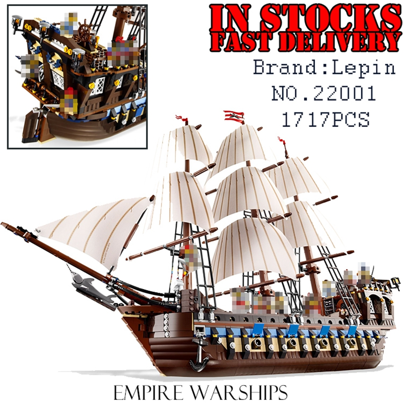 LEPIN 22001 1717Pcs Pirates The Flagship Huge Ship Model Building Kit Blocks Bricks DIY Toys for children Gifts 10210 brinquedos lepin 22001 imperial flagship building bricks blocks toys for children boys game model car gift compatible with bela decool10210