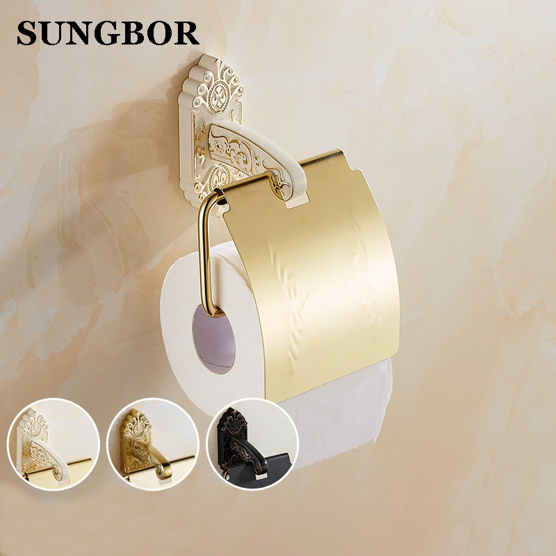 Luxury European style Wall-mounted Gold Black Paper Roll Holder Toilet Paper Holder Tissue Holder Restroom Bathroom Accessories gold color bathroom toliet tissue paper towel roll holder chinese luxury style 3371901