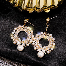 Asymmetric fashion  pearl earrings ultra-flash crystal zircon circle luxury bohemian
