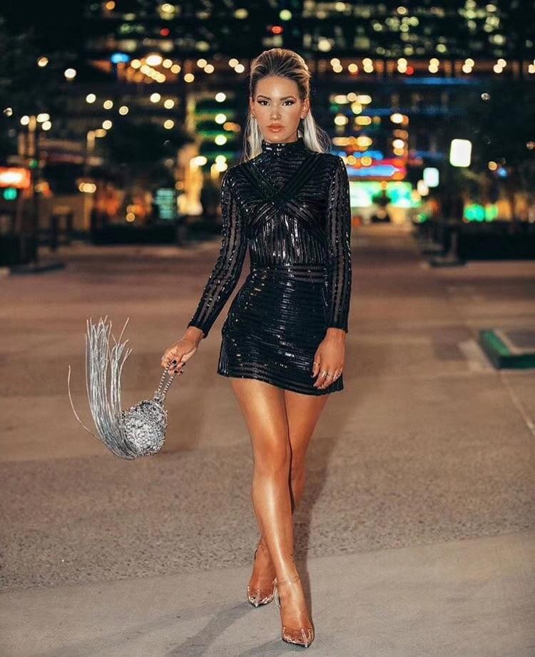 Mode Robe 2018 Qualité Manches De Designer Noir Top Femmes Celebrity Sexy À Longues vTzCgW