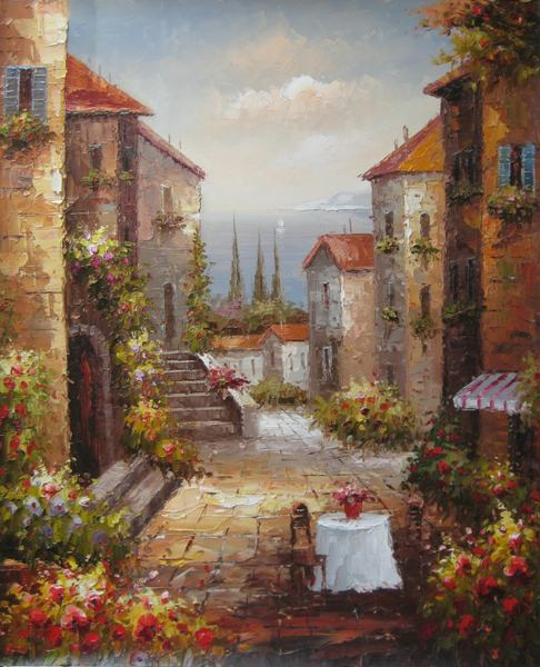 Free Shipping Mediterranean Sea House Landscape Oil Painting Canvas Painting Prints On Canvas