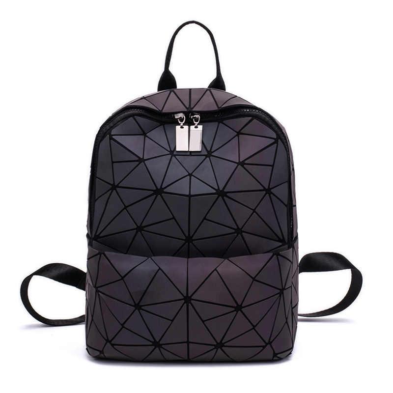 6a0b874596ed Для женщин рюкзак геометрический световой дорожные сумки для школы сумка  рюкзак голографические рюкзаки для подростков женский