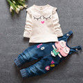 2016 nueva primavera caliente ropa del bebé niñas niños overol de mezclilla jeans + blusa manga completa Twinset ropa fijada