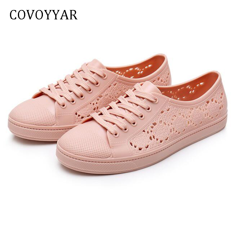 COVOYYAR 2019 Breathable Women Sneakers Platform Lace Up White Jelly Shoes Women PVC Cut Out Casual Shoes Anti-slip WSN765COVOYYAR 2019 Breathable Women Sneakers Platform Lace Up White Jelly Shoes Women PVC Cut Out Casual Shoes Anti-slip WSN765
