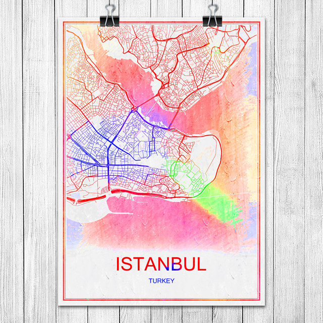 colorful world city map istanbul turkey print poster abstract coated