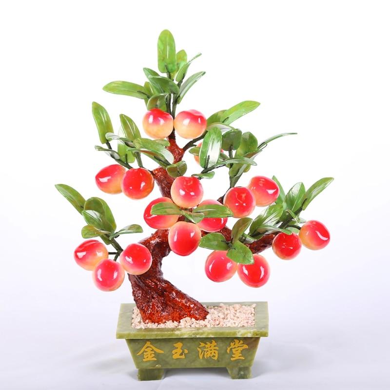 Jade bonsai 18 small potted peach jade Topaz jewelry crafts gifts Home Furnishing living room decoration jingdezhen lang jun kiln ceramics antique red censer living room decoration decoration gift home furnishing