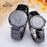 Casual Ceramic Watches Man Woman Couple Clocks Quartz Round Luxury Women Men Loves Wristwatches Waterproof Black
