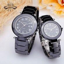 Relojes de Cerámica informal hombre mujer pareja relojes de cuarzo ronda relojes de lujo mujer hombre ama impermeable blanco negro relogio
