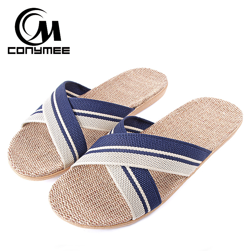 купить Fashion 2018 Men Flax Sandals Beach Slipper Silent Sweat Cool Slippers For Summer Male Big Size Indoor Shoes Home Sneakers по цене 542.62 рублей