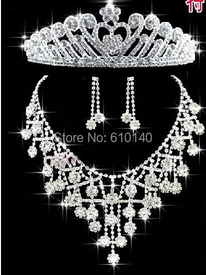 Bridal Jewelry Crown wedding tiara necklace three piece suit Korean