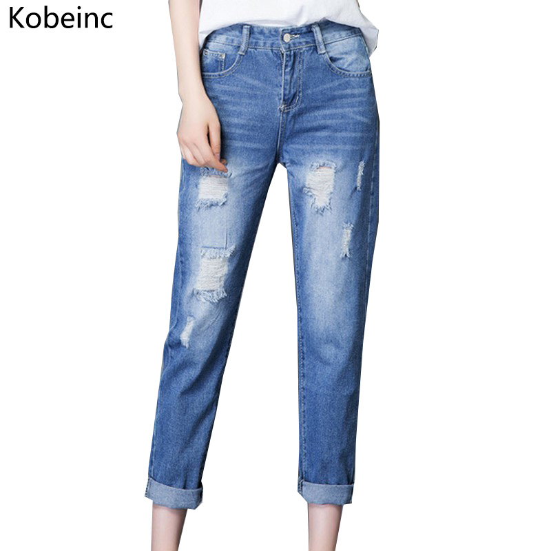 Kobeinc Ripped Jeans for Women Ankle-Length Denim Pants Female Plus Size Pencil Trousers Female High Waist Autumn Warm Vaqueros loose ankle length jeans for women 2017 new vintage distressed high waist ripped denim harem pants woman trousers plus size