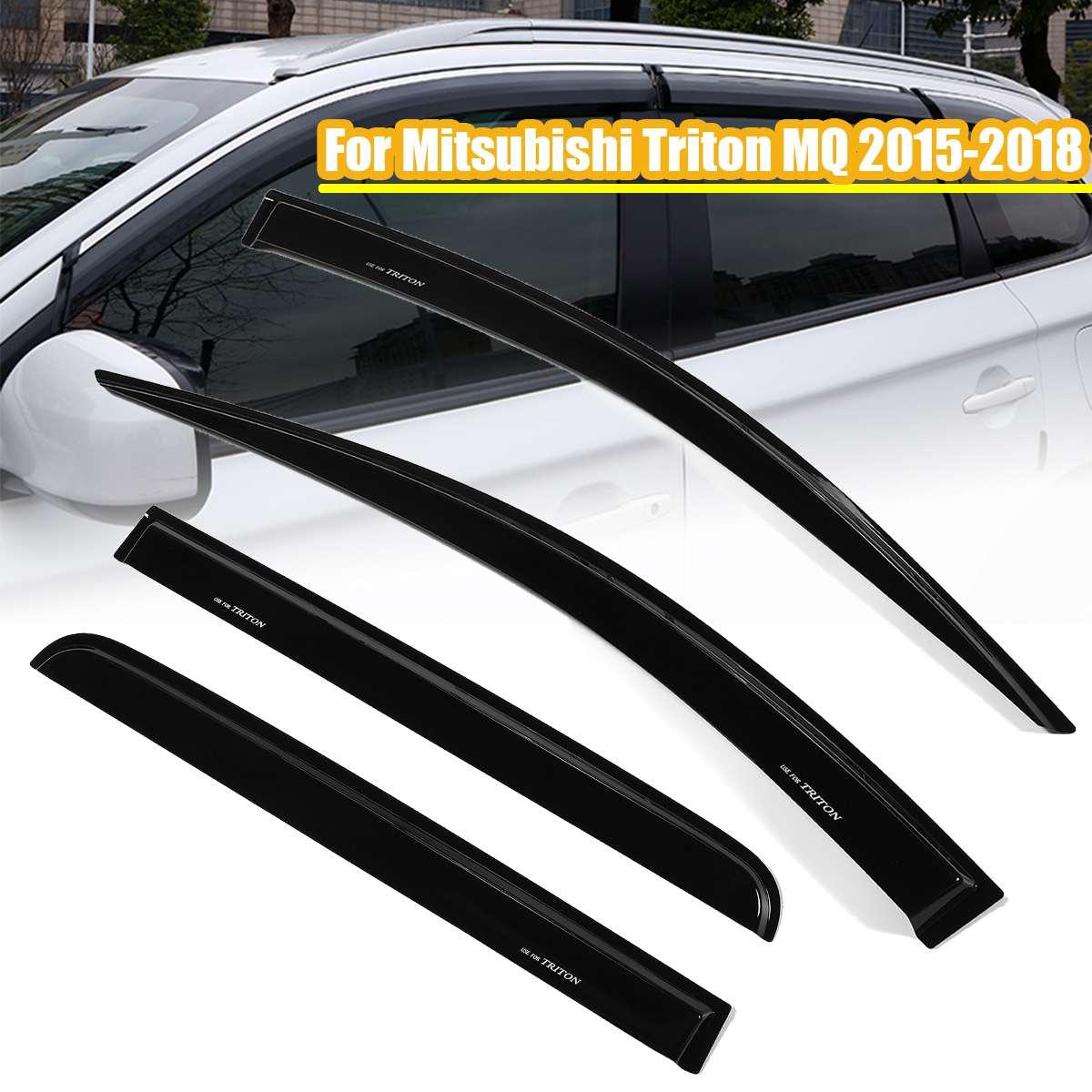 4pcs Rain Window Visor Weather Shields Guards For Mitsubishi Triton MQ 2015 18 Car Window Deflectors