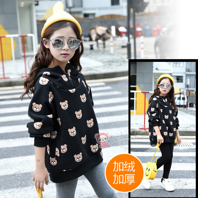 Children's clothing cartoon bear print plus velvet new autumn and winter baby girls sweatshirt kids pullover Hoodies Sweatshirts