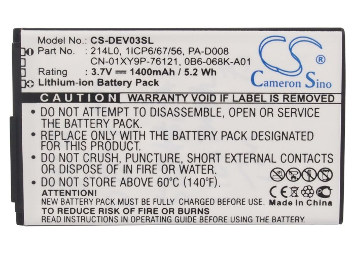 1400mAh Battery For DELL For Venue Pro, Lightning, V02S, V03B (p/n 0B6-068K-A01, 1ICP6/67/56, 214L0)