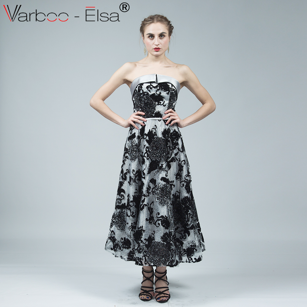 a0837e31e9 VARBOO ELSA vestido longo 2018 New Sexy Boat Neck Party Gown Black Lace  Applique Evening Dress In