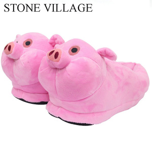 Image 2 - STONE VILLAGE White Pink Pig Animal Prints Cotton Home Slippers Playful Plush Winter Indoor Shoes Women Slippers Shoes Plus Size