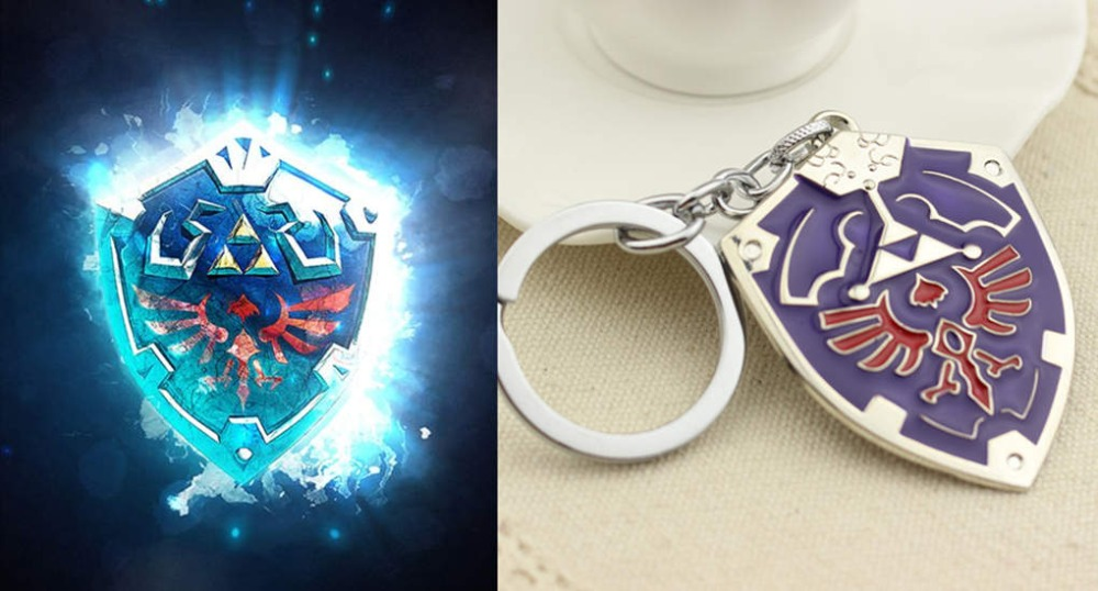 Game The Legend of Zelda Shield Keychain Cosplay Game Props Fashion Metal Alloy Keychain Cosplay