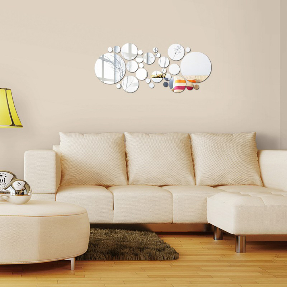 MEYA 28PCS Of 3D Decorative Round Mirror Wall Sticker ...