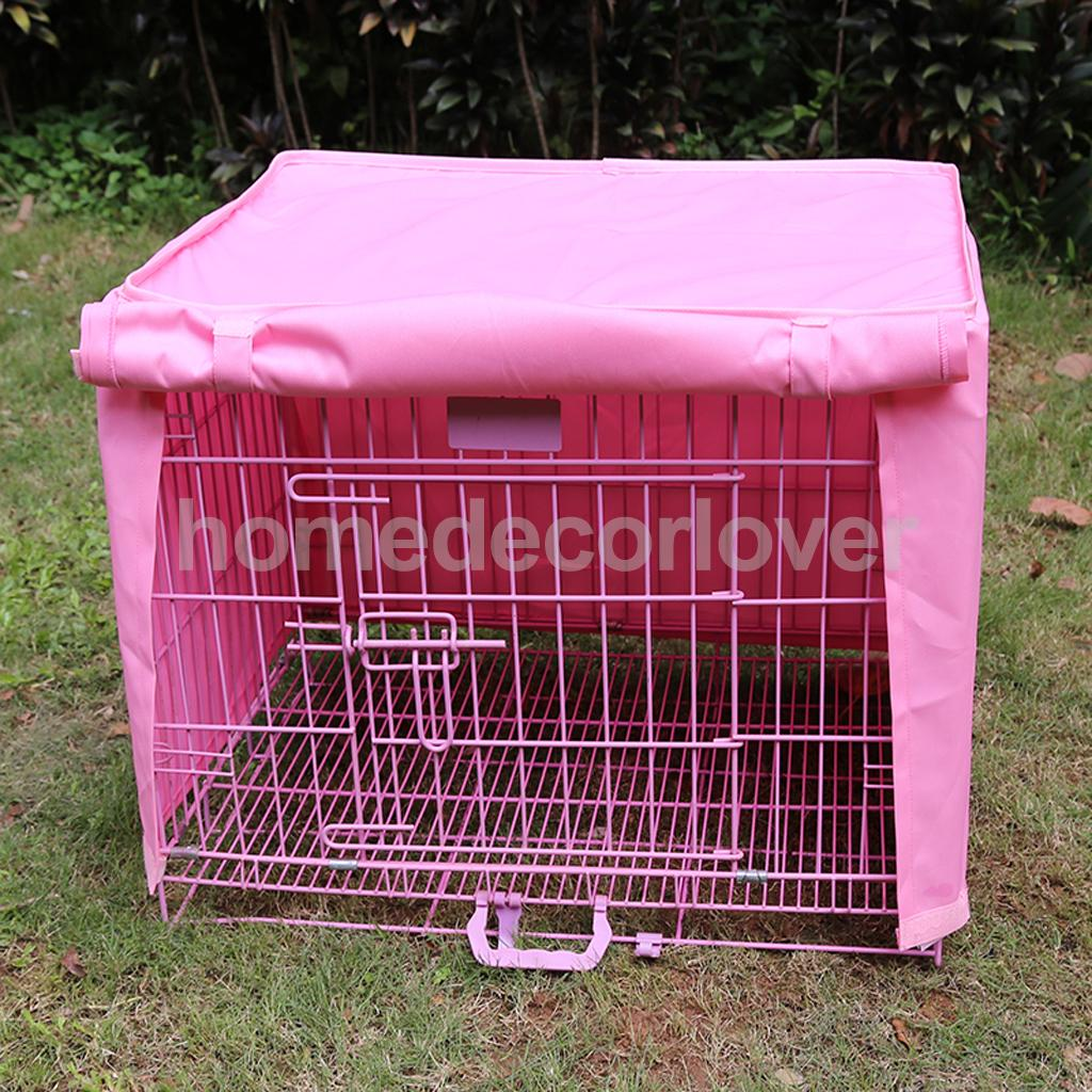 18x12x14 Small 1 Door Pet Dog Crate Cage Kennel Cover Windproof Pink