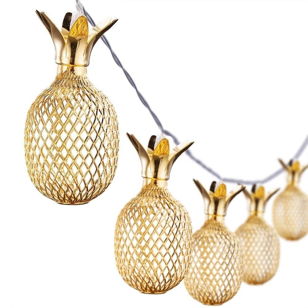 Gold Pineapple Lantern String Lights 10/20/30/40 LED USB Plug & Battery Powered Novelty Fairy Lights For Festival Decoration