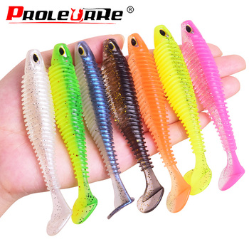 80mm 2.5g Artificial  T Tail Silicone Swimbait Soft Bait Worm Fishing Lures