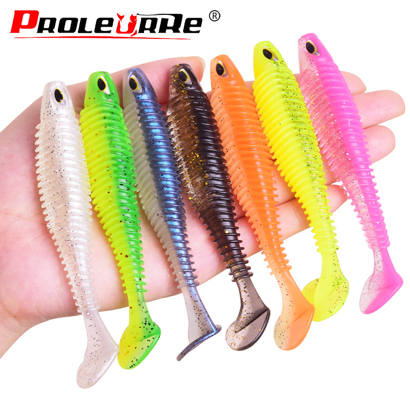 Proleurre Shad Fishing Lure 8cm 11cm T-tail Soft Bait Jigging Wobbler Aritificial Silicone Lures Bass Pike Fishing Tackle PR-599