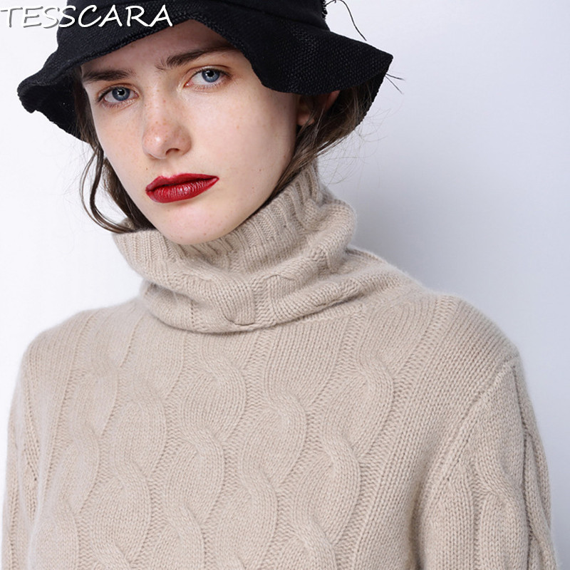 TESSCARA Women Winter Casual Turtleneck Sweater Female Warm Cashmere Pullover High Quality Tricot Knitted Thick Wool Outerwear