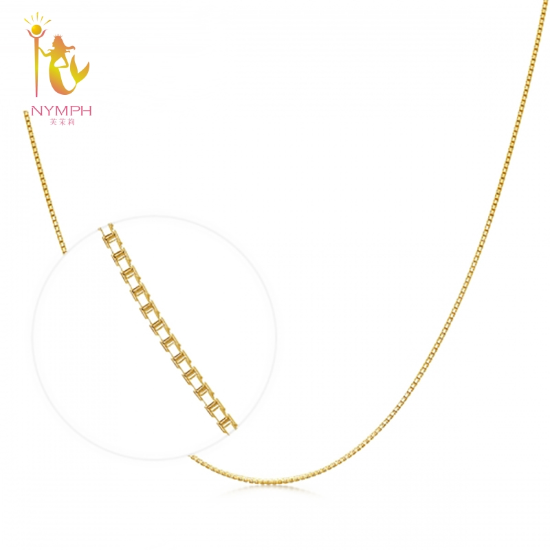 NYMPH Genuine 18K Yellow Gold Chain 18 inches fine Jewelry Real au750 Necklace Pendant 45cm Wedding Party Gift About 1g X314 genuine 18k white yellow gold chain 40cm 45cm 1mm thickness au750 cost price necklace wedding party gift for women
