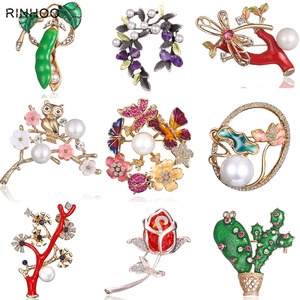 Spring Tree Rose Flower Cactus Plant Butterfly Brooch Pin Crystal Rhinestone Imitation Pearl Brooches Women Jewelry Boutonniere(China)