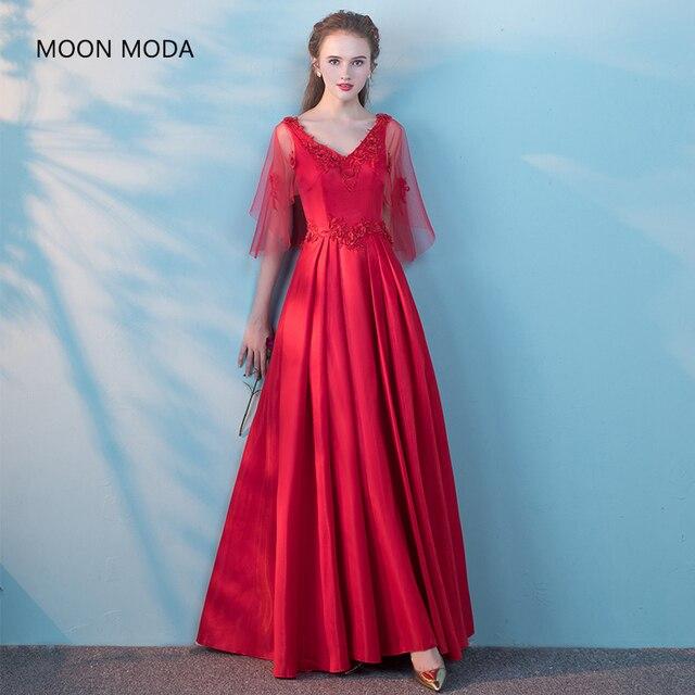 bb41f80389 Tostadas novia 2018 nuevo estilo de verano velo rojo hombros novia delgada  vestido de noche vestido