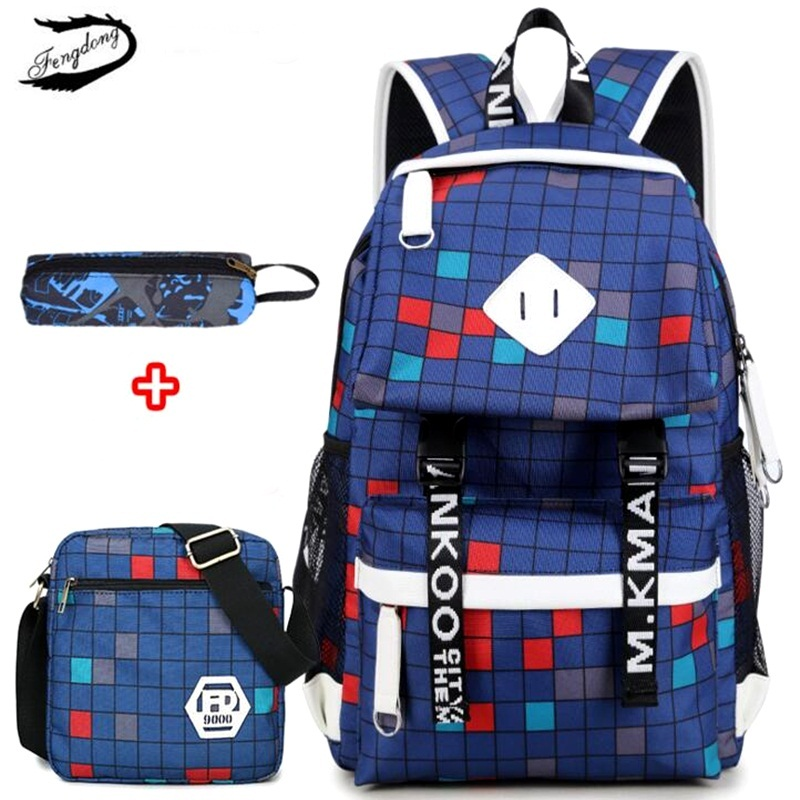 FENGDONG 3PCS/set Women USB Backpack Plaid Printing School Bag For Teenage Girls Boy Pencil Case Men Travel Shoulder Bag Mochila fengdong brand women backpack shoulder bag female school students bag travel canvas printing backpack for women teenage girls