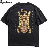 Summer 2019 Hip Hop T Shirt Streetwear Funny Tiger T Shirt Men Short Sleeve Black Tshirt Harajuku Print Cotton Tops Tees HipHop