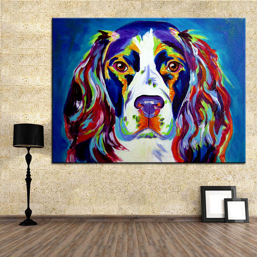 Large size Print Oil Painting springer spaniel Wall painting Home  Decorative Wall Art Picture For Living Room paintng No Frame