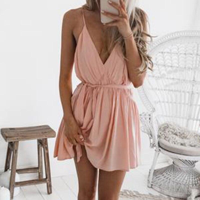 Women Beach Summer Mini Dress Sexy Deep V Neck Blackless Strap Black Dresses 2018 Casual Pleated Dress Belt Vestidos